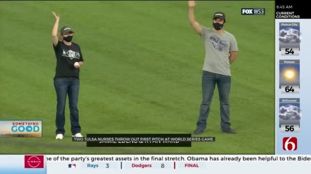 Two Tulsa Nurses Throw Out First Pitch At Game One of World Series