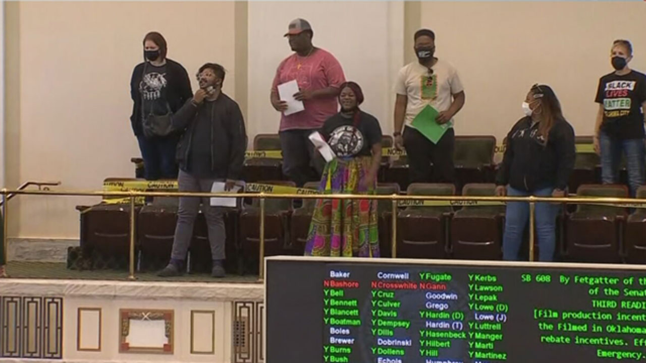 Group Protesting State Bills Gather Inside Oklahoma House Chamber