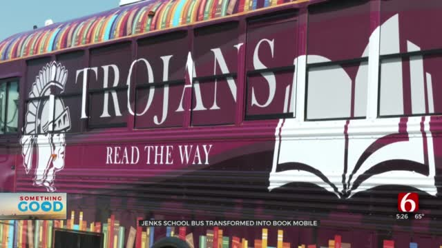 School Bus Transformed Into Resource On Wheels Helping Jenks Trojans 'Read The Way'