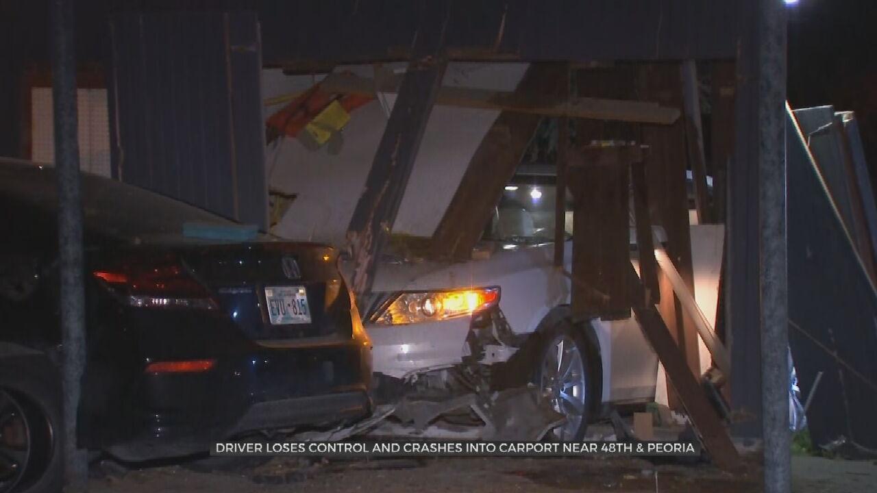 Driver Uninjured After Losing Control, Crashing Into Carport
