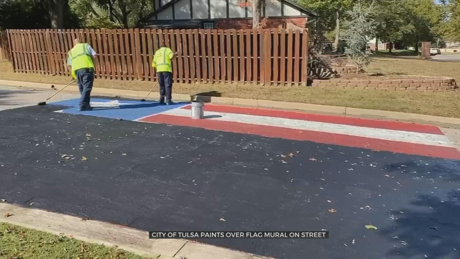 City Road Crews Paint Over Street Mural Honoring Marine