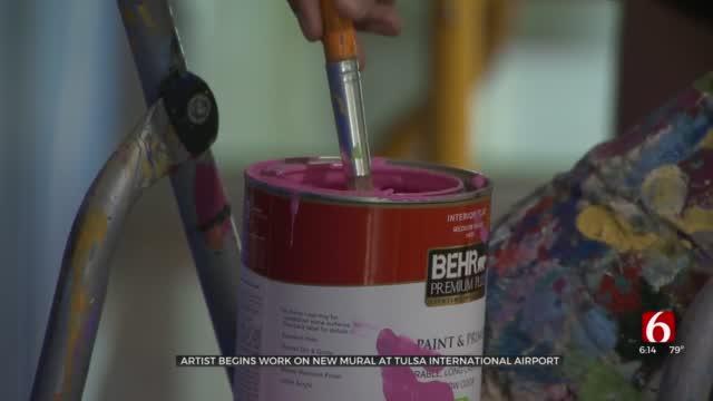 Artist Begins Work On New Mural At Tulsa International Airport