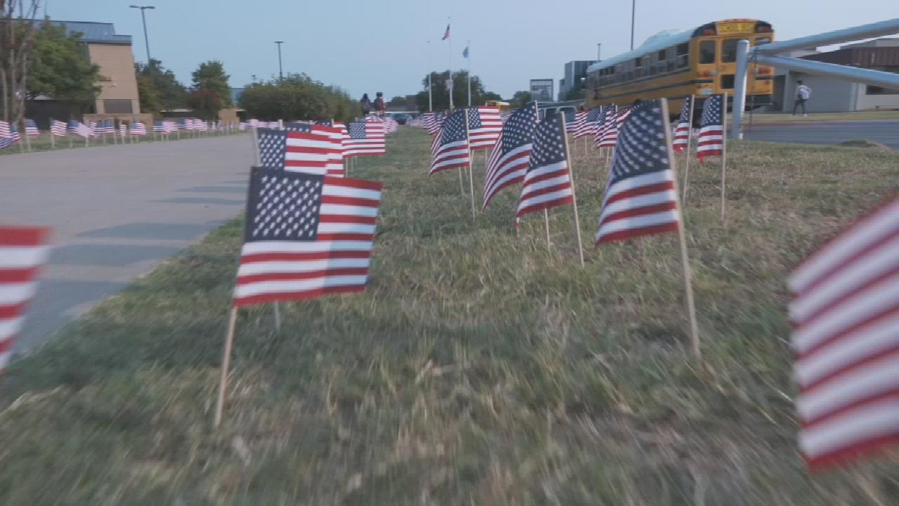 Jenks High School Students Place Nearly 3,000 Flags In Remembrance Of 9/11 Victims
