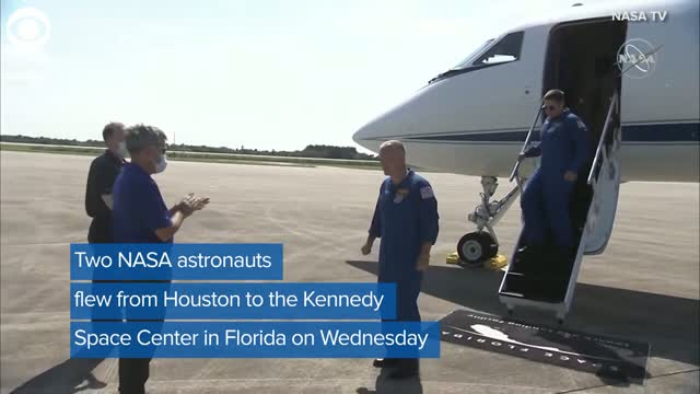 Watch: Two astronauts arrive in Florida ahead of NASA, SpaceX launch