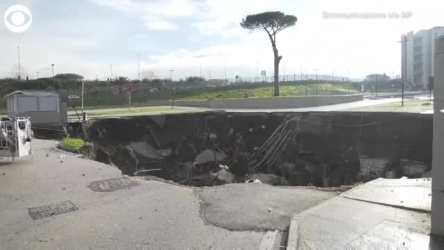 WOW: Giant Sinkhole Opens In Hospital Parking Lot In Italy