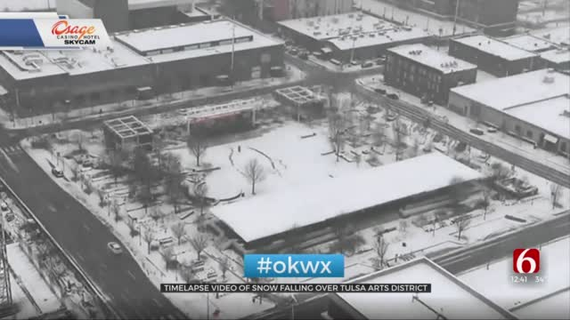 Watch: Time-lapse Of Snow Fall Over Tulsa Arts District