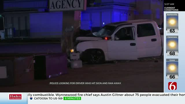 Tulsa Police Search For Driver After Truck Hits Business Sign