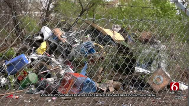 Crews Clear Large Homeless Camp Near Downtown Tulsa