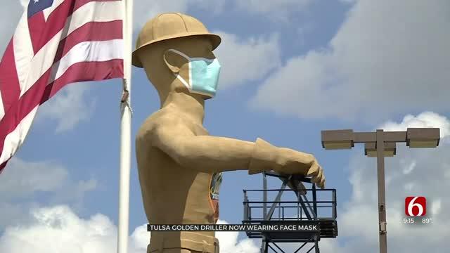 Tulsa Golden Driller Now Wearing Face Mask