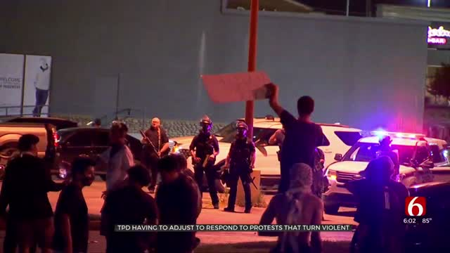 Tulsa Police Try To Control Vandalism During Monday Night's Protests