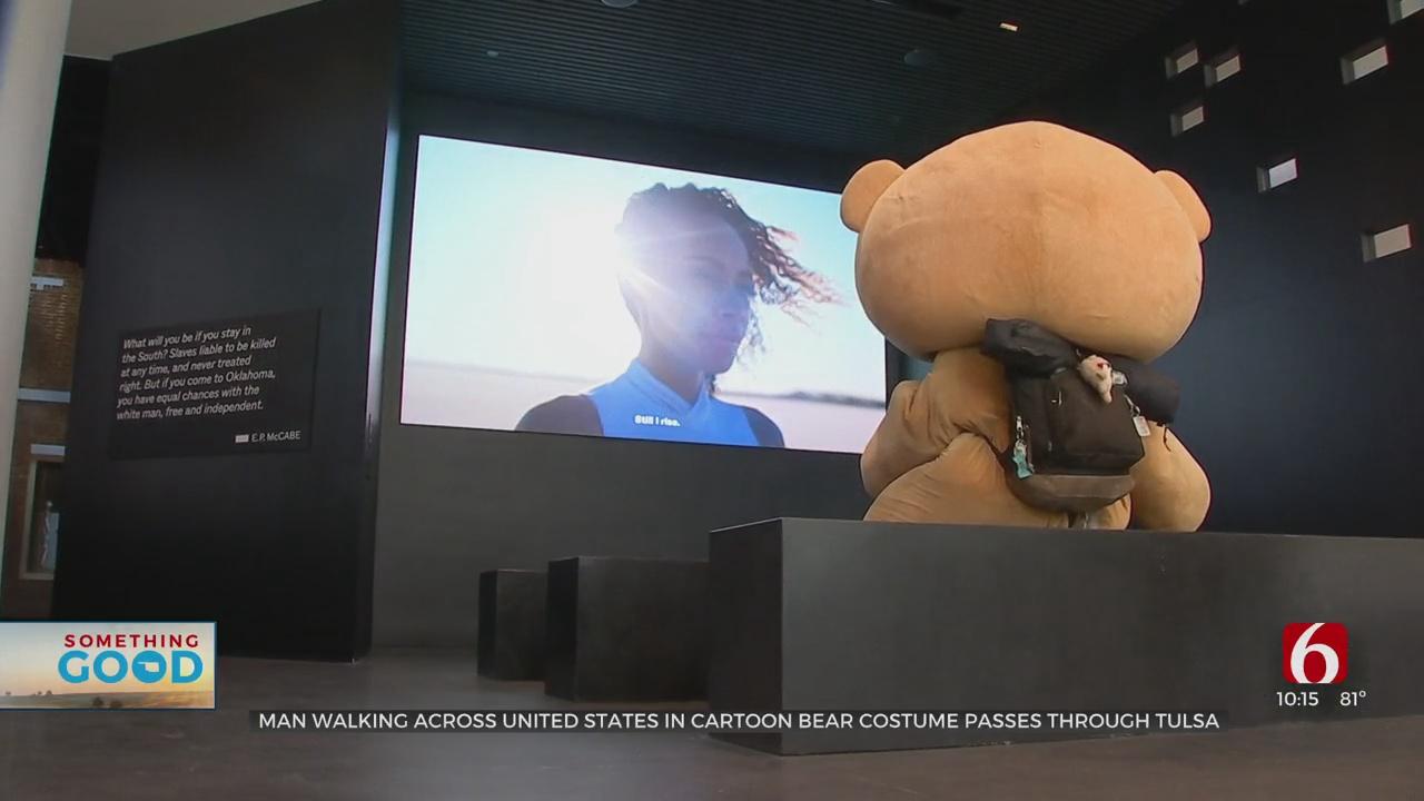 Man Walking Across United States In 75-Pound Cartoon Bear Costume Passes Through Tulsa