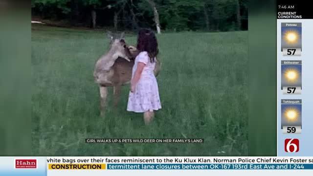 WATCH: Oklahoma Girl Has Rare Chance To Pet Deer
