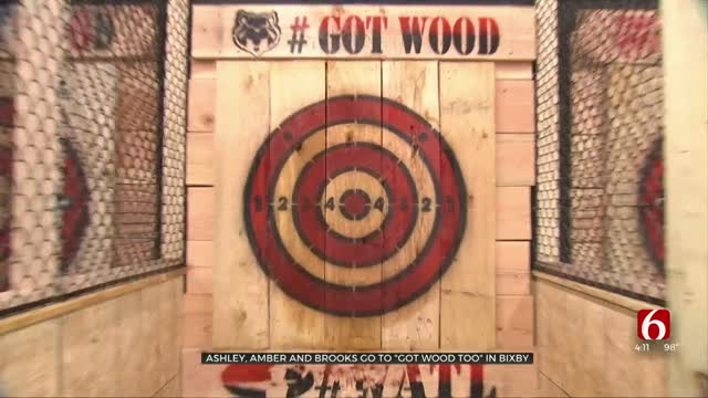 What's Great In The 918: Ashley, Amber & Brooks Visit New Axe-Throwing House