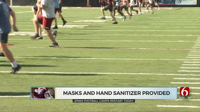 Jenks Football Camp Starts With COVID-19 Precautions Put In Place