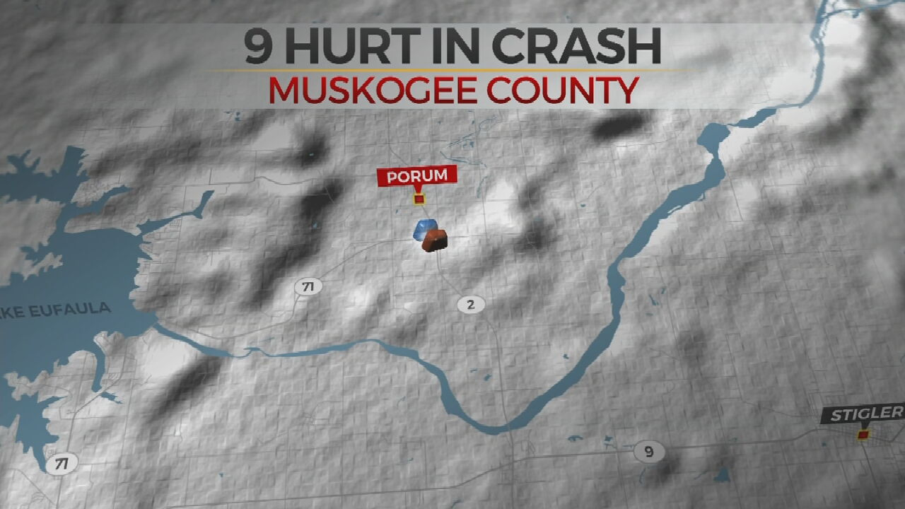9 Injured In Muskogee County Car Crash
