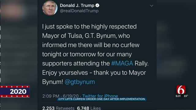 President Trump Tweets Curfew No Longer In Place For Part Of Downtown Tulsa