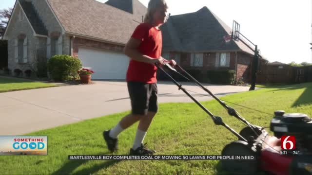 Bartlesville 12-Year-Old Completes Challenge Of Mowing 50 Lawns For People In Need