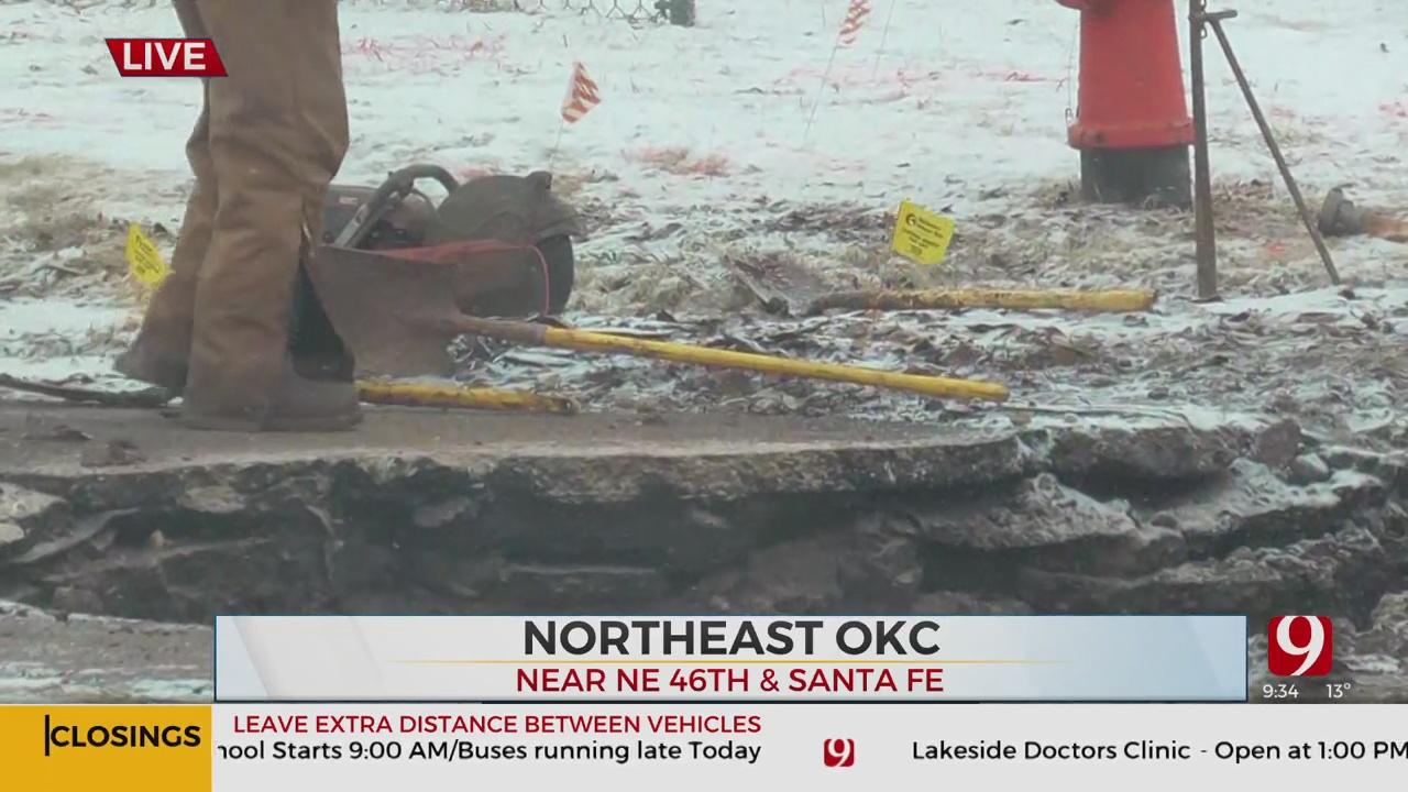 Water Main Breaks, Shuts Down Northeast OKC Intersection