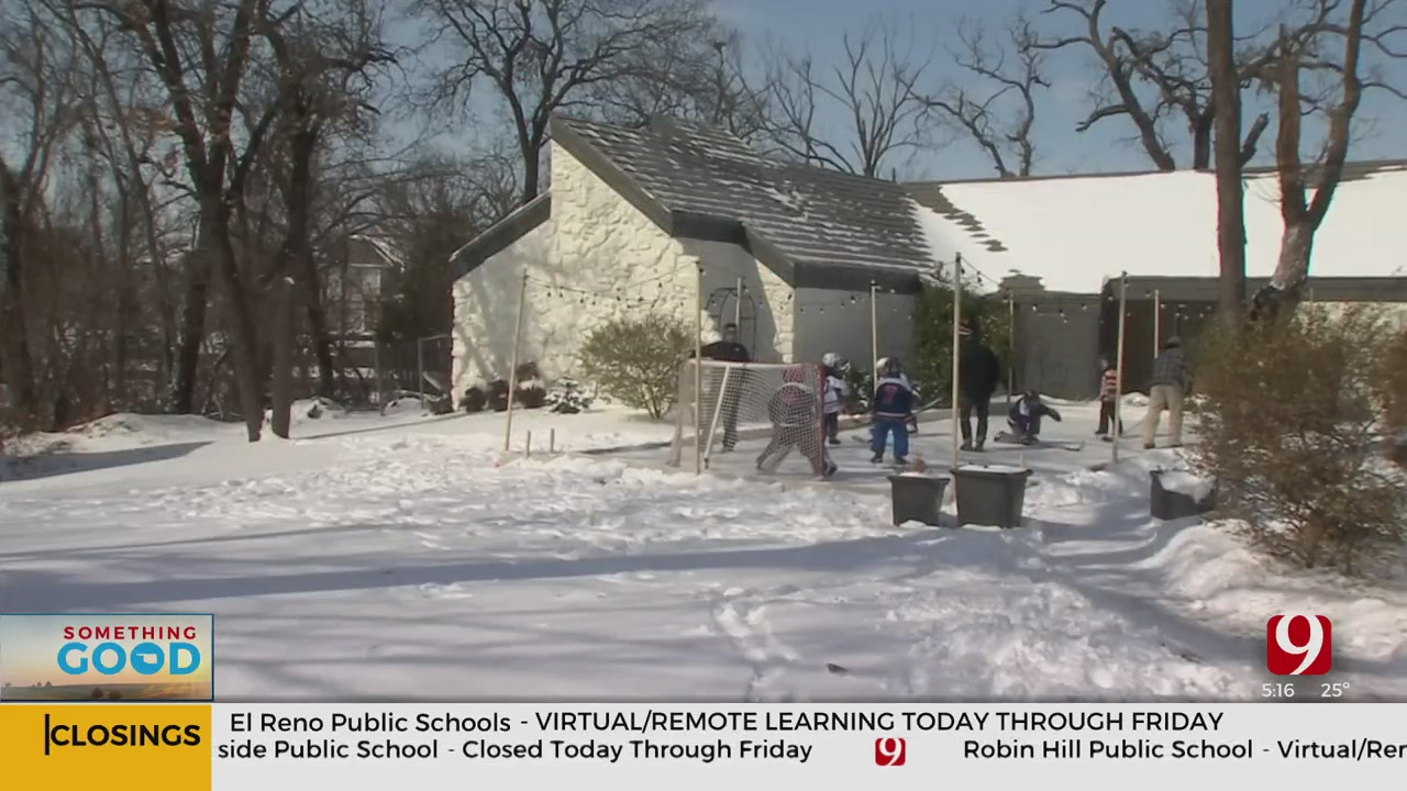 Edmond Family Gets Creative For Son's 8th Birthday, Builds Hockey Rink In Their Front Yard