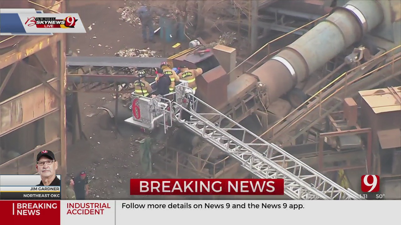 Firefighters Work To Rescue Worker At Scrap Yard In E. OKC