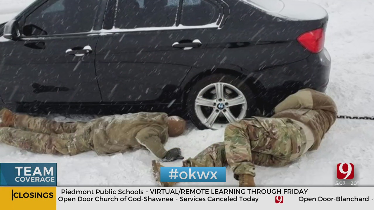 Okla. National Guard Partners With OHP To Help Folks Stranded In The Snow