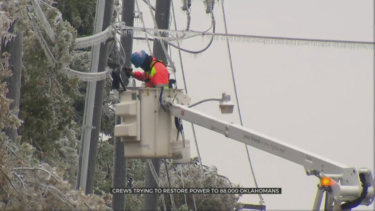 Electric Companies Continue To Restore Power Across Oklahoma