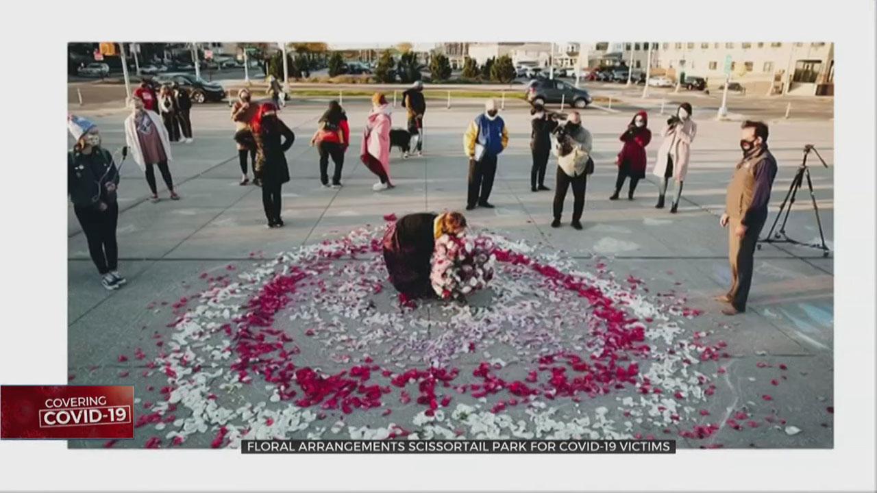 Floral Arrangements Laid Out For COVID-19 Victims