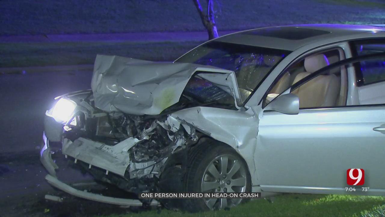 1 Injured In Overnight Head-On Crash
