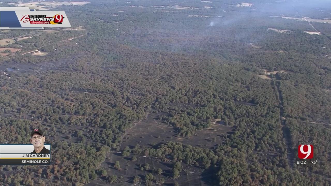 WATCH: Bob Mills SkyNews 9 Flies Over Seminole County Wildfire