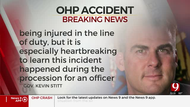 Gov. Stitt Issues Statement After OKC Crash Involving Procession For Tulsa Police Officer