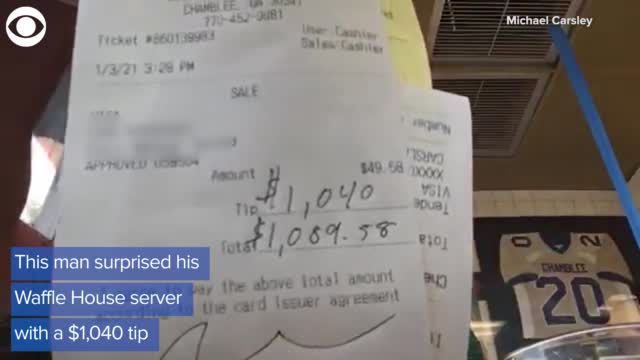 WATCH: Man Leaves Server With $1,040 Tip