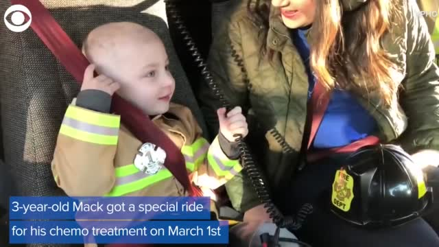 Firefighters Give 3-Year-Old Boy Ride To Chemo Treatment
