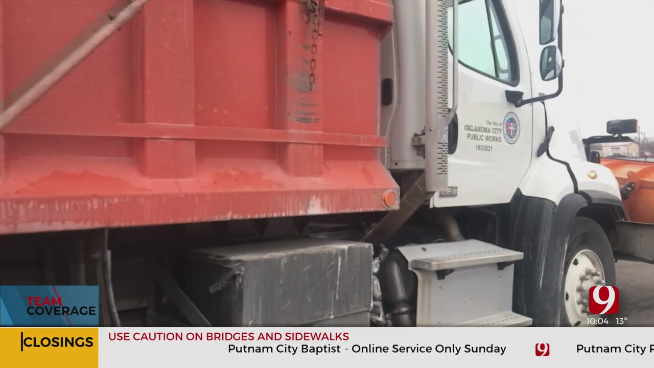 OKC Crews Sticking To Route Map To Treat Snow Covered Streets