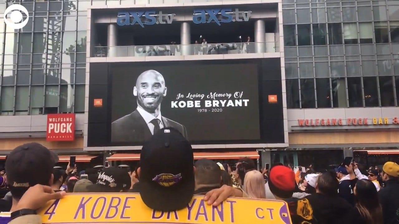 Fans Chant 'Kobe' Outside Staples Center In Los Angeles