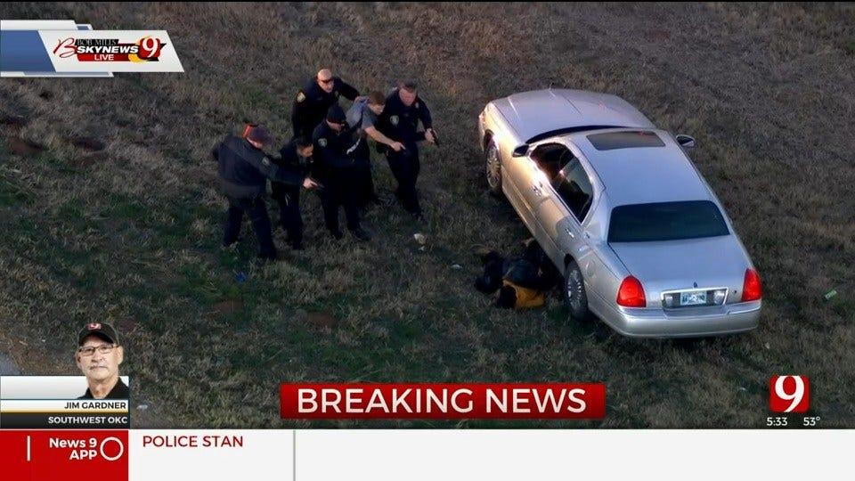 WATCH: OKC Pursuit, Standoff Suspect Taken Into Custody After Police Deploy Bean Bag Shotgun
