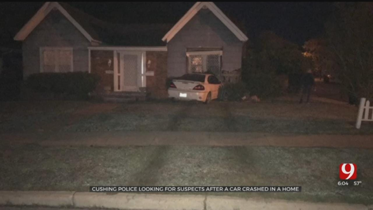 Car Driven Into Cushing Home, Police Searching For Two Suspects