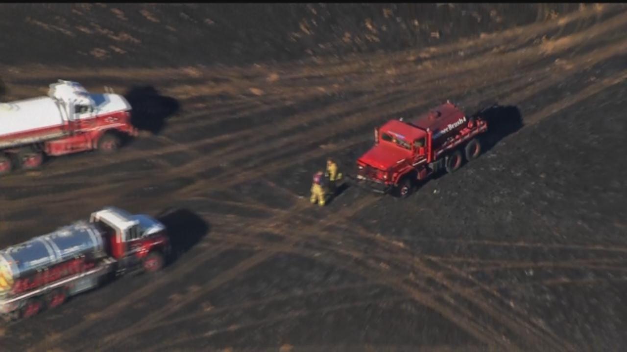 WEB EXTRA: Bob Mills SkyNews 9 Flies Over Grass Fire Near Chickasha