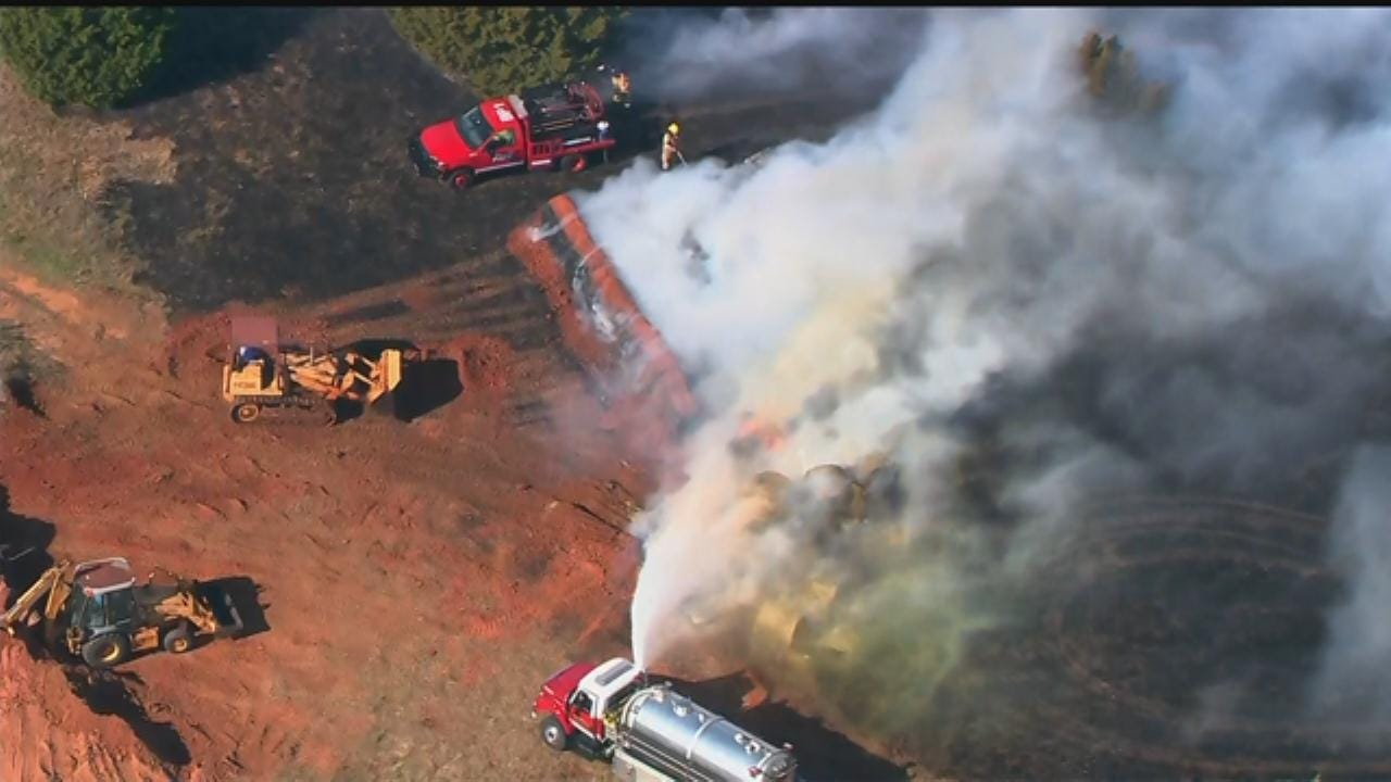 WEB EXTRA: Bob Mills SkyNews 9 Flies Over Grass Fire North Of Edmond
