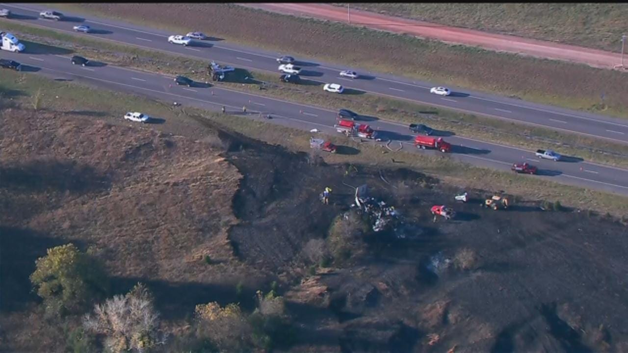 WEB EXTRA: Bob Mills SkyNews 9 Flies Over Semi-Truck Crash Near Goldsby