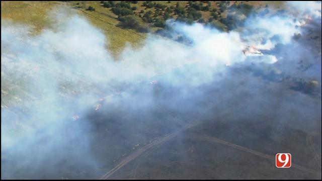 WEB EXTRA: Bob Mills SkyNews 9 Flies Over Grass Fire In Pott. County