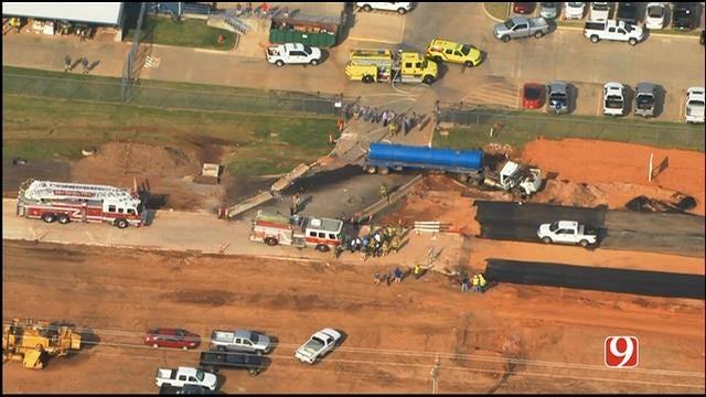 WEB EXTRA: Bob Mills SkyNews 9 Flies Over Semi-Truck Fuel Spill In SW OKC