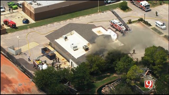 WEB EXTRA: Bob Mills SkyNews 9 Flies Over Fire At OKC Vacant Building