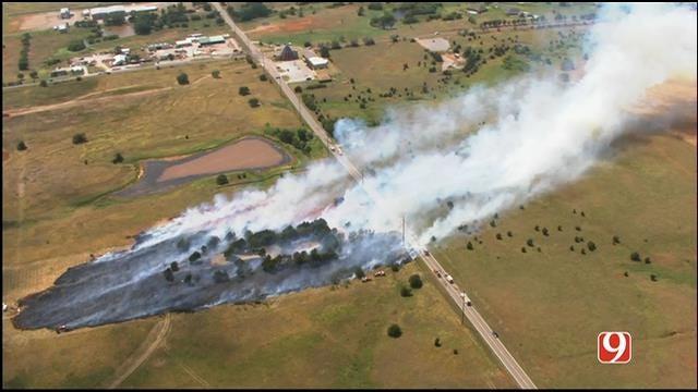 WEB EXTRA: Bob Mills SkyNews 9 Flies Over Deer Creek Grass Fire
