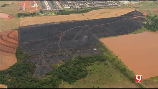 WEB EXTRA: Bob Mills SkyNews 9 Flies Over OKC Grass Fire
