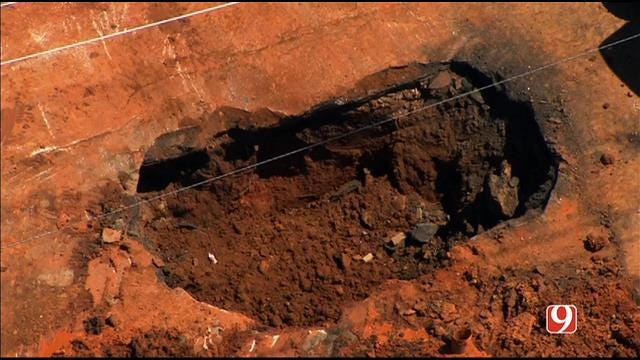 WEB EXTRA: Bob Mills SkyNews 9 Flies Over Midwest City Water Main Break