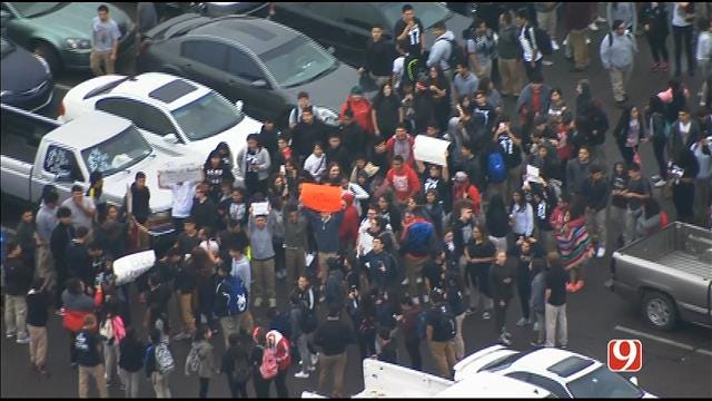 WEB EXTRA: Bob Mills SkyNews 9 Flies Over Students' Walk-Out At U.S. Grant HS