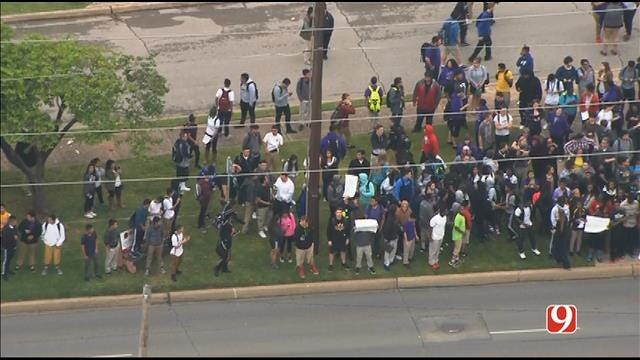 WEB EXTRA: Bob Mills SkyNews 9 Flies Over Students' Walk-Out At NW Classen HS