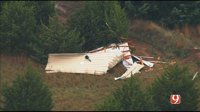 WEB EXTRA: Bob Mills SkyNews 9 HD Flies Over More Storm Damage In Luther