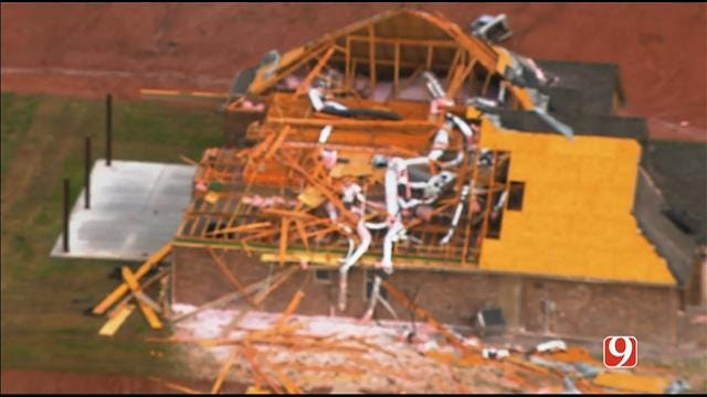 WEB EXTRA: Bob Mills SkyNews 9 Flies Over Luther Storm Damage