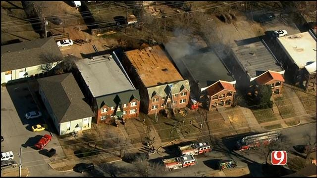 WEB EXTRA: Bob Mills SkyNews 9 HD Flies Over Vacant Structure Fire